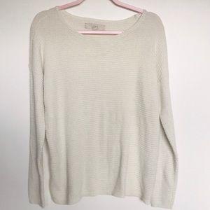 Ann Taylor Loft Cream Metallic Sweater
